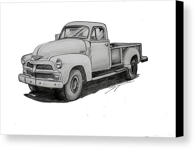 Canvas Print featuring the drawing 080-truck by Keith Spence
