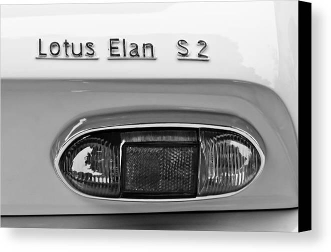 1965 Lotus Elan S2 Taillight Emblem Canvas Print featuring the photograph 1965 Lotus Elan S2 Taillight Emblem by Jill Reger