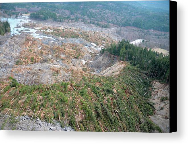 2014 Oso Mudslide Canvas Print featuring the photograph 2014 Oso Mudslide by Us Geological Survey