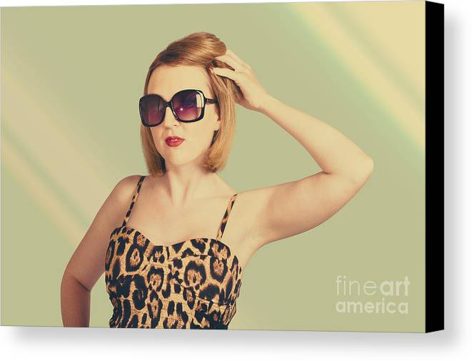 Beautiful 80s Pinup Woman On Hairdressing Backdrop Canvas Print ...