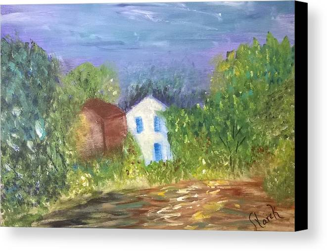 Landscape Canvas Print featuring the painting Country Road by Deb Mayer