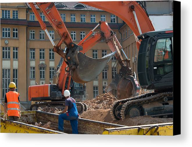 Demolition Canvas Print featuring the photograph Demolition Vehicles At Work by Frank Gaertner