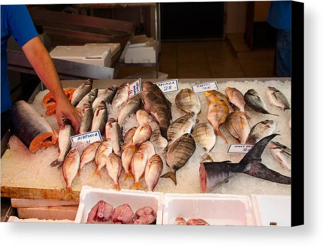 Fish Canvas Print featuring the photograph Fish Market by Frank Gaertner