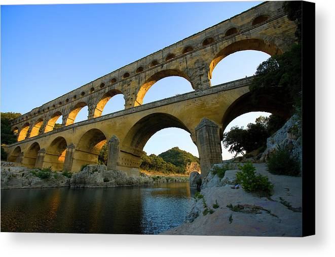 Arch Canvas Print featuring the photograph France, Avignon The Pont Du Gard Roman by Jaynes Gallery