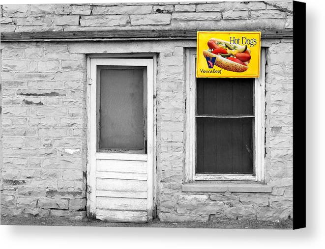 B&w Canvas Print featuring the photograph Hot Dogs by John Nelson