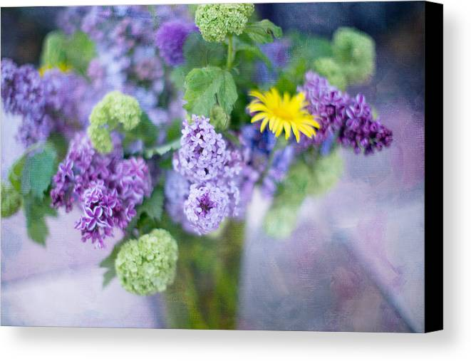 Lilacs Canvas Print featuring the photograph Lilacs In Vase 3 by Rebecca Cozart