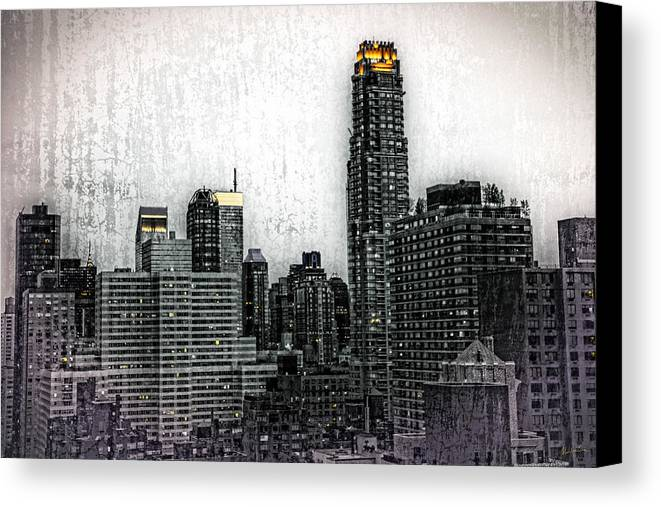 Buildings Canvas Print featuring the photograph Manhattan View by Madeline Ellis
