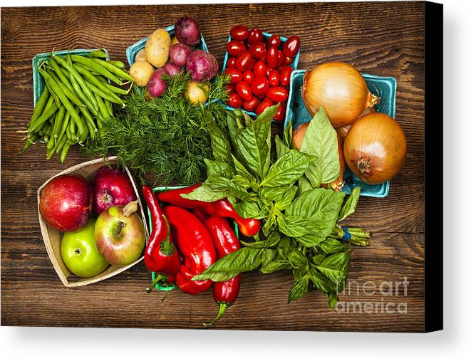 Local Canvas Print featuring the photograph Market Fruits And Vegetables by Elena Elisseeva