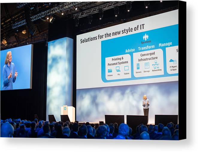 Meg Whitman Canvas Print featuring the photograph Meg Whitman At Hp Discover 2012 by Frank Gaertner