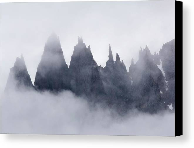 Amazement Canvas Print featuring the photograph Mountains In Fog, Prince Christian by Daisy Gilardini