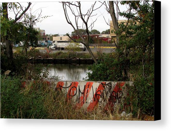 Canvas Print featuring the photograph Newton Creek Greenpoint by Steve Breslow