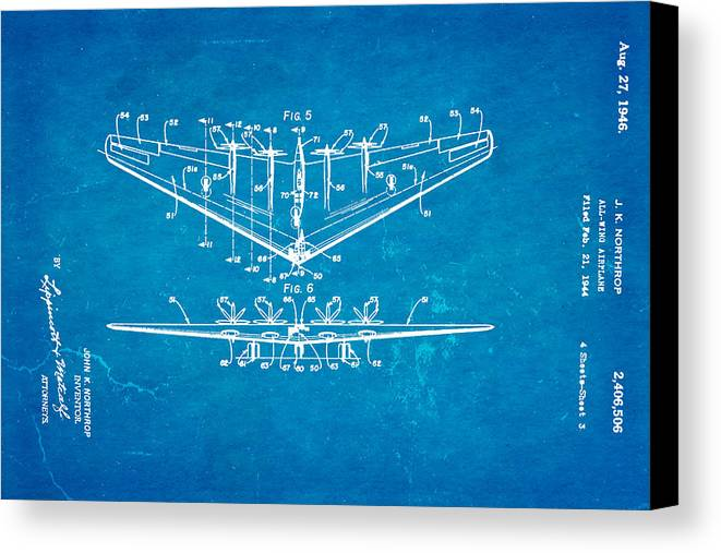 Northrop all wing airplane patent art 3 1946 blueprint canvas print aviation canvas print featuring the photograph northrop all wing airplane patent art 3 1946 blueprint by malvernweather Images