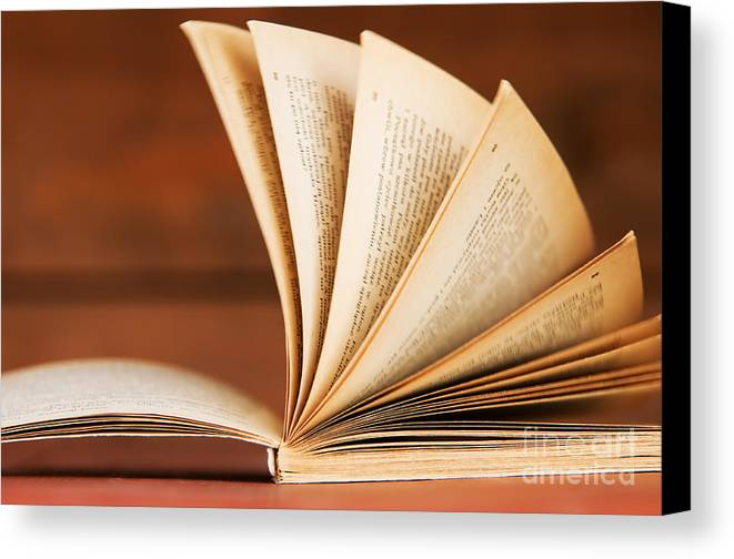 Article Canvas Print featuring the photograph Open Book In Retro Style by Michal Bednarek