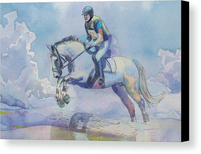 Horse Sport Canvas Print featuring the painting Polo Art by Catf