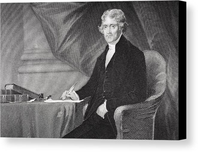 Thomas Jefferson Canvas Print featuring the drawing Portrait Of Thomas Jefferson by Alonzo Chappel