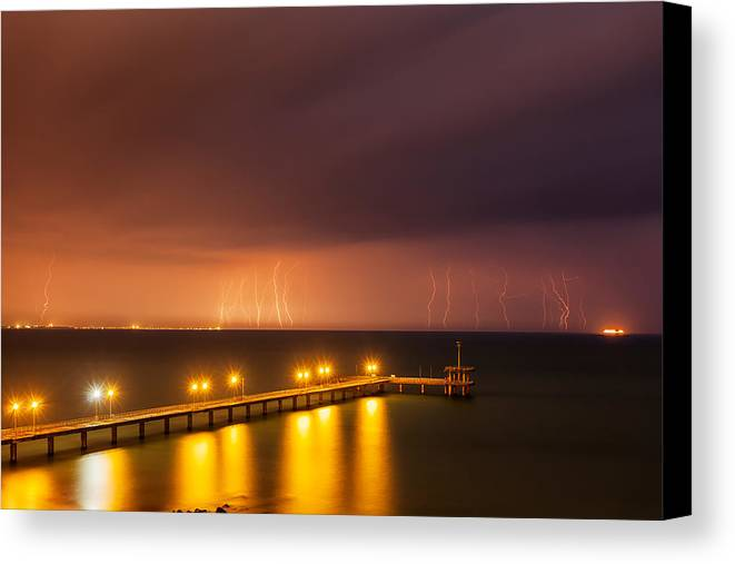 Black Sea Canvas Print featuring the photograph Rain Of Lightnings by Evgeni Dinev