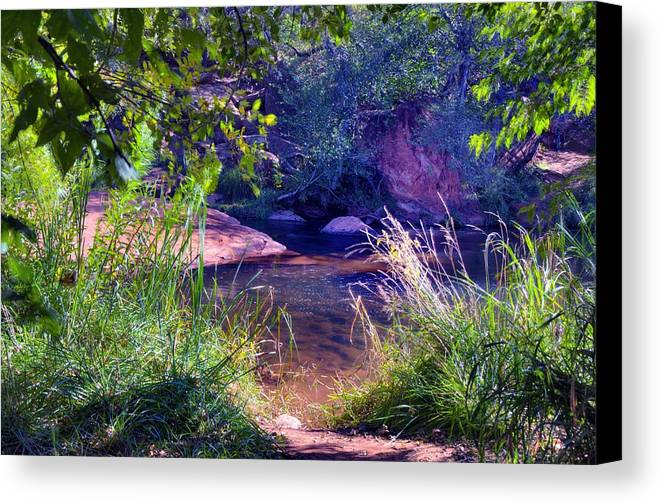 Grass Weeds Sedona Outdoors Brush Trees Reflections Color Fall Beauty Northern Arizona Rocks Nature Water Canvas Print featuring the photograph Red Rock Crossing Sedona Az by Thomas Todd