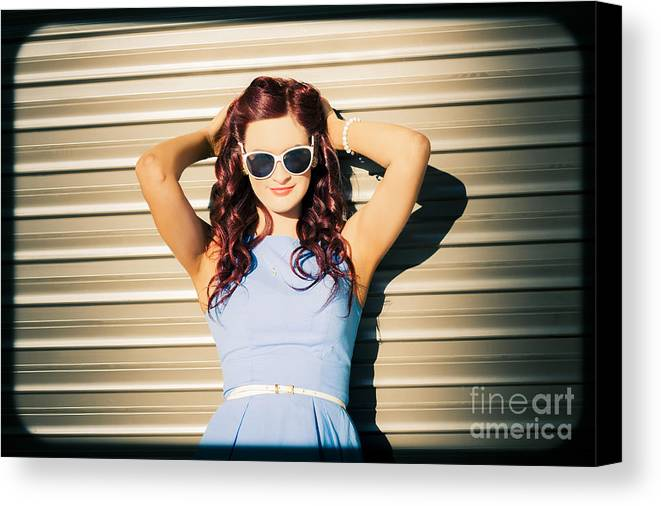 Rockabilly Canvas Print featuring the photograph Rockabilly Greaser Pin-up. 50s Drive-in Culture by Jorgo Photography - Wall Art Gallery