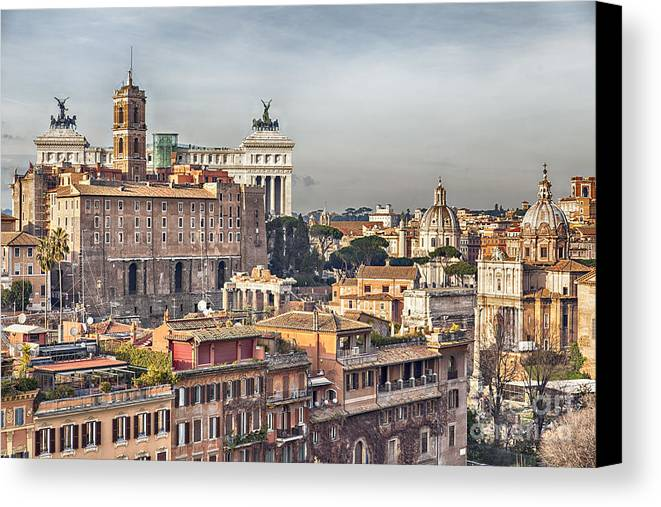 Roman Forum Canvas Print featuring the photograph Rome Cityscape by Sophie McAulay