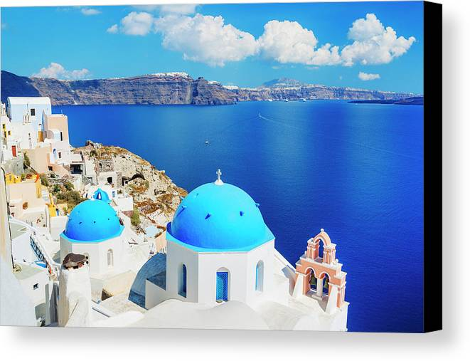 Architectural Canvas Print featuring the photograph Santorini Island, Greece, Beautiful by Design Pics Vibe