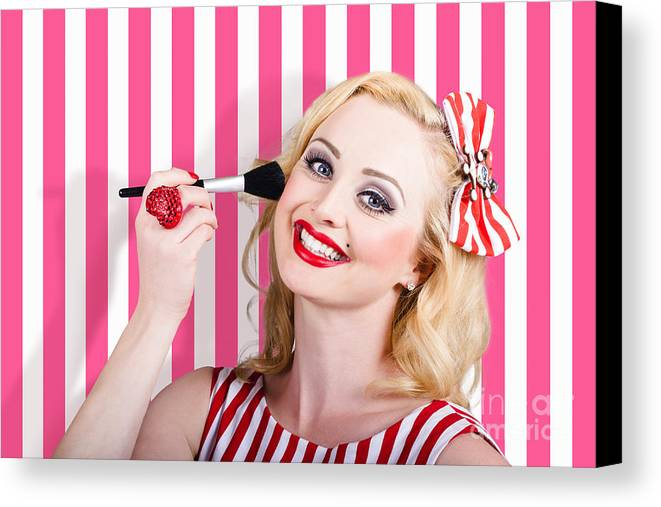 Makeup Canvas Print featuring the photograph Smiling Makeup Girl Using Cosmetic Powder Brush by Jorgo Photography - Wall Art Gallery