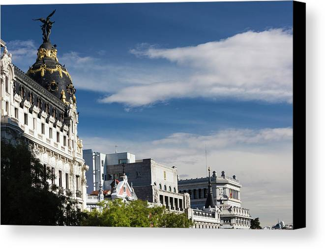 Autumn Canvas Print featuring the photograph Spain, Madrid, Centro Area by Walter Bibikow