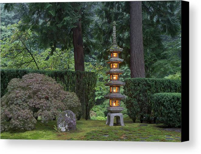 Asian Canvas Print featuring the photograph Stone Lantern Illuminated With Candles by William Sutton