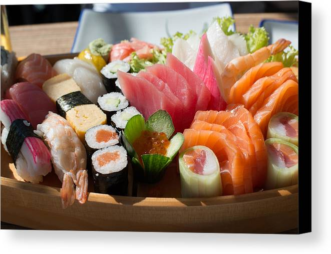 Fish Canvas Print featuring the photograph Sushi And Sashimi by Frank Gaertner