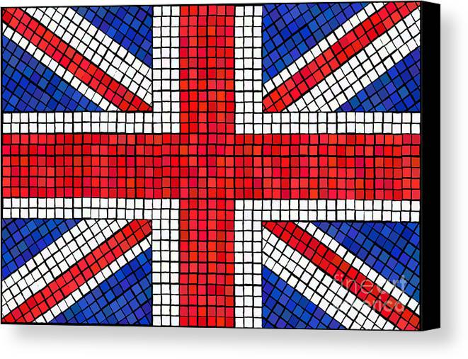 Background Canvas Print featuring the digital art Union Jack Mosaic by Jane Rix