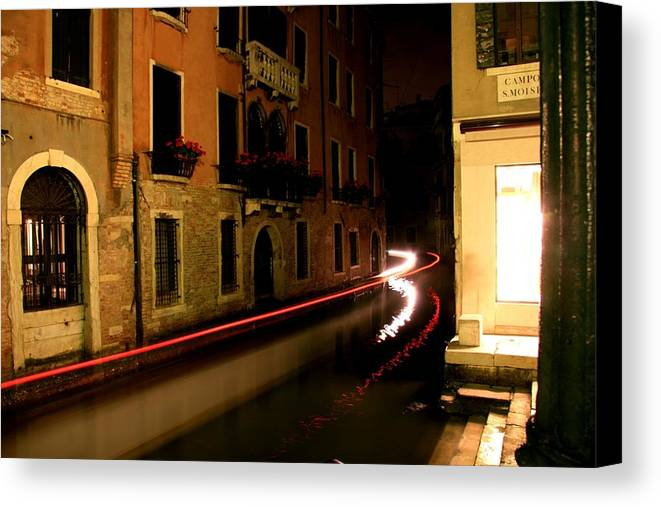 Venice Canvas Print featuring the photograph Venice At Night by David Miller