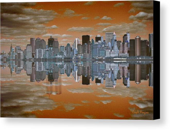 Manhattan Canvas Print featuring the digital art Yesterday Reflexions by Coqle Aragrev