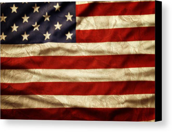 Wrinkled Canvas Print featuring the photograph American Flag by Les Cunliffe
