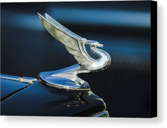1935 Chevrolet Sedan Canvas Print featuring the photograph 1935 Chevrolet Sedan Hood Ornament by Jill Reger