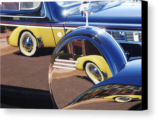 1937 Cord 812 Phaeton Reflected Into Packard Canvas Print featuring the photograph 1937 Cord 812 Phaeton Reflected Into Packard by Jill Reger