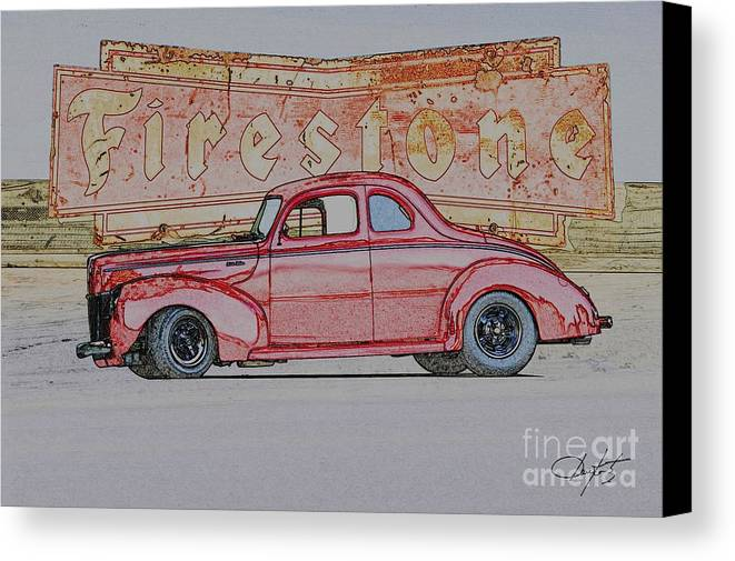 Coupe Canvas Print featuring the photograph 1940 Ford Coupe Illustration by Dave Koontz