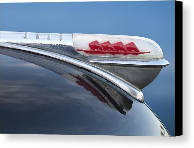 1947 Plymouth Canvas Print featuring the photograph 1947 Plymouth Hood Ornament by Jill Reger