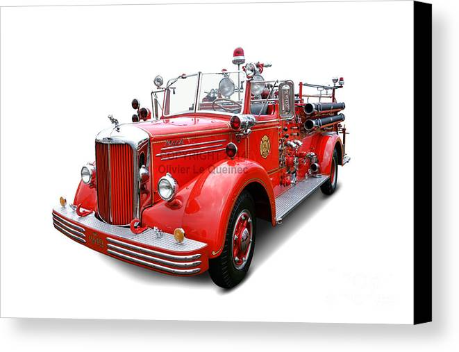 1949 Canvas Print featuring the photograph 1949 Mack Fire Truck by Olivier Le Queinec