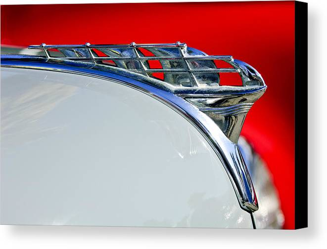 1950 Plymouth Coupe Canvas Print featuring the photograph 1950 Plymouth Hood Ornament 3 by Jill Reger
