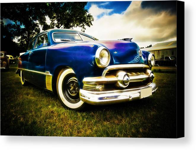 Ford Custom V8 Canvas Print featuring the photograph 1951 Ford Custom by Phil 'motography' Clark