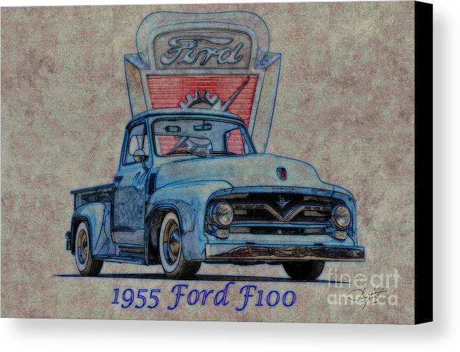 Auto Canvas Print featuring the photograph 1955 Ford F100 Illustration 2 by Dave Koontz