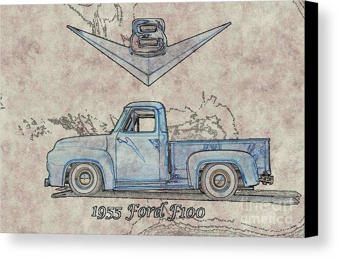 Auto Canvas Print featuring the photograph 1955 Ford F100 Illustration by Dave Koontz