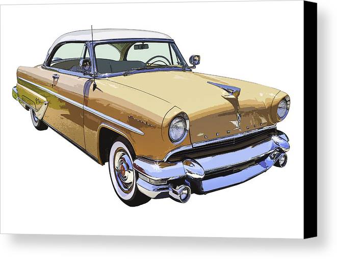 1955 Lincoln Capri Canvas Print featuring the photograph 1955 Lincoln Capri Fine Art Illustration by Keith Webber Jr