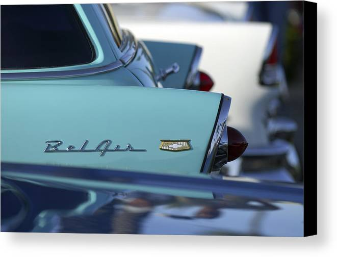 Car Canvas Print featuring the photograph 1956 Chevrolet Belair Nomad Rear End by Jill Reger