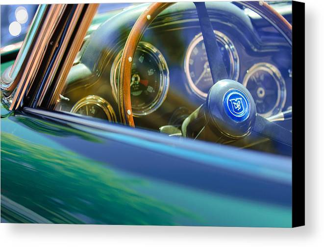 1960 Aston Martin Db4 Series Ii Steering Wheel Canvas Print featuring the photograph 1960 Aston Martin Db4 Series II Steering Wheel by Jill Reger