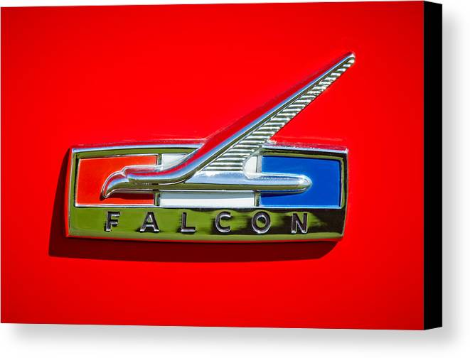1964 Ford Falcon Emblem Canvas Print featuring the photograph 1964 Ford Falcon Emblem by Jill Reger