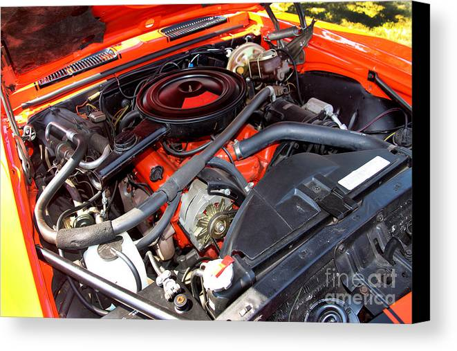 1969 Chevrolet Camaro Rs Canvas Print featuring the photograph 1969 Chevrolet Camaro Rs - Orange - 350 Engine - 7567 by Gary Gingrich Galleries