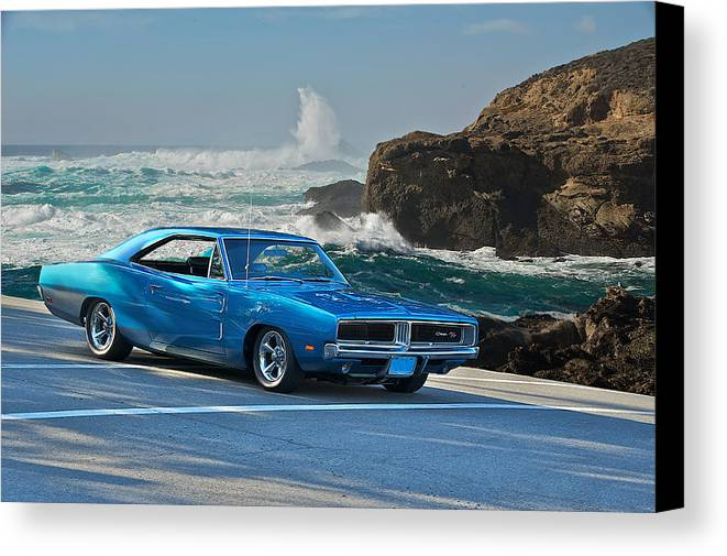 Alloy Canvas Print Featuring The Photograph 1969 Dodge Charger Rt At Oceanside By Dave Koontz