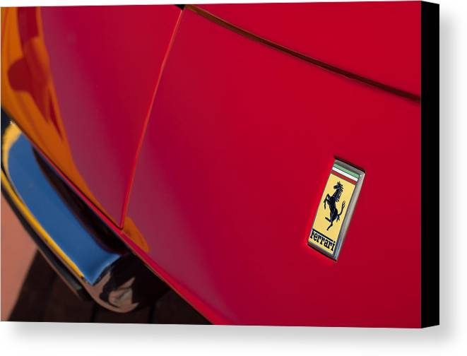 1970 Ferrari 365 Gtb-4 Daytona Berlinetta Hood Emblem Canvas Print featuring the photograph 1971970 Ferrari 365 Gtb-4 Daytona Berlinetta Hood0 Ferrari 365 Gtb-4 Daytona Berlinetta Hood Emblem by Jill Reger