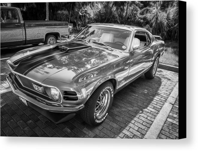 1970 Ford Mustang Mach 1 Painted Bw Canvas Print Canvas Art By