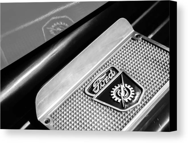 1949 Ford F-1 Pickup Truck Step Plate Emblem Canvas Print featuring the photograph 1949 Ford F-1 Pickup Truck Step Plate Emblem -0043bw by Jill Reger